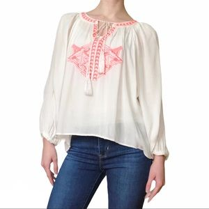 Neon Embroidered High-Low Peasant Top